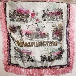 Vintage Satin Washington Souvenir Throw Pillowcase